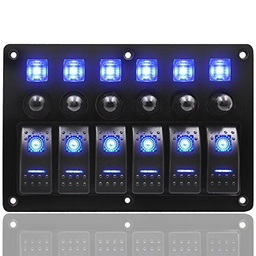 FXC Waterproof 6 Gang Rocker Switch Panel 12V/24V Circuit Breaker LED Rocker Indicator for RV Car Marine Boat ¡­ ¡­ Appliance Rocker Switch