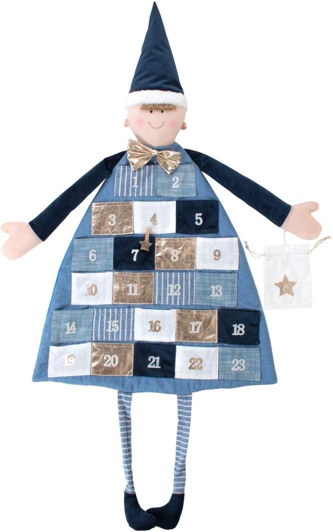 Rayher 46455376 Calendario dell/'Avvento da appendere a forma di Bambolotto in Tessuto con taschine numerate colore Blu reale