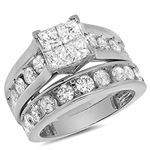 3.02 Carat (ctw) 14k Gold Princess Round Diamond Bridal Set Matching Engagement Ring Wedding Band Channel - White-gold, Size 13