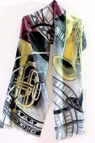 Jazz scarf Hand painted silk scarf Gift for music lover by Alla Taisheva
