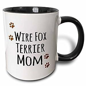3dRose (mug_154218_4) Wire Fox Terrier Dog Mom - Doggie by breed - muddy brown paw prints doggy lover pet owner mama love - Two Tone Black Mug, 11oz 48