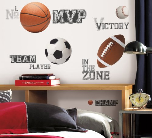 RoomMates RMK1705SCS All Star Sports Saying Peel and Stick Wall (Boys Room Wall Decor)
