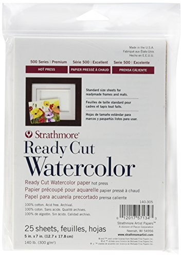 - Strathmore 140-305 500 Series Ready Cut Watercolor Paper, 140 lb. Hot Press, 5