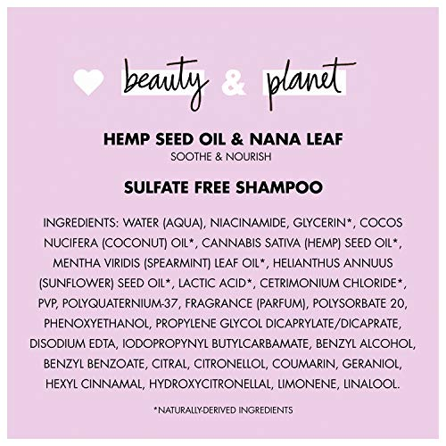 Love Beauty And Planet Soothe and Nourish Sulfate-Free Shampoo Dry Hair and Nourished Hair Care Hemp Seed Oil & Nana Leaf Paraben-Free, Silicone-Free and Vegan 32.3 oz