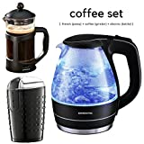 Ovente Glass Electric Kettle Bundle with French Coffee Press and...