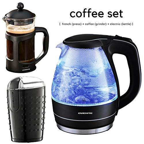 Ovente Glass Electric Kettle Bundle with French Coffee Press