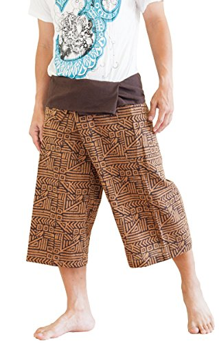 BohoHill Capri Thai Fisherman Pants Cropped Tribal Broken Rock Design (Brown)
