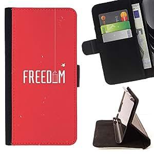 For Sony Xperia M5 E5603 E5606 E5653 Case , Pájaro Libertad Rojo texto minimalista Jaula- la tarjeta de Crédito Slots PU Funda de cuero Monedero caso cubierta de piel