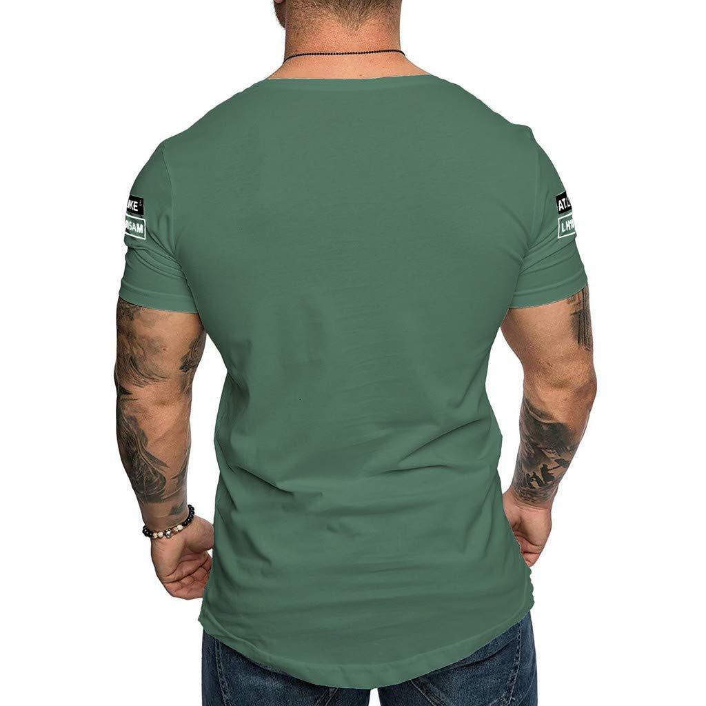 KINGOL Mens Summer Fashion Slim Fit Print Heavyweight Crew Neck Short Sleeved T-Shirt Top Blouse