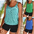 bajieMaster Women's Bikini Plus Size Dot Print Tankini Swimsuit Beachwear Padded Swimwear