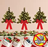 """16"""" Decorative Indoor/Outdoor Light Up Wall Christmas Trees With Timer - Set of 3"""