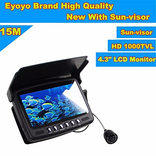 Eyoyo 15M 4.3″ LCD Ice/Sea Fish Finder 1000TVL Underwater fishing Camera With Sun-visor