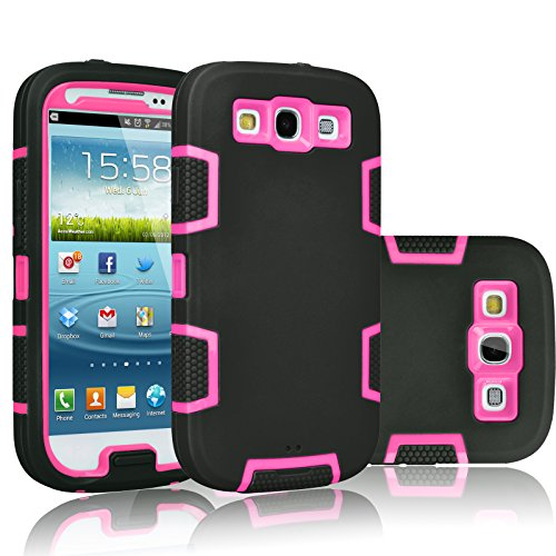 Tekcoo Galaxy S3 Case, [Troyal Series] [Black/Pink] Hybrid Shock Absorbing Shock Dust Dirt Proof Defender Rugged Full Body Hard Case Cover Shell for Samsung Galaxy S3 S III I9300 GS3 All Carriers (Samsung S3 Case Pink)