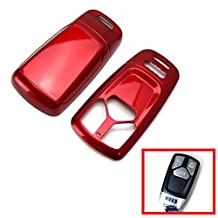 iJDMTOY Glossy Metallic Red Exact Fit Folding Key Fob Shell Cover For 2016-up Audi A4 A5 TT Q7 3-Button Smart Key