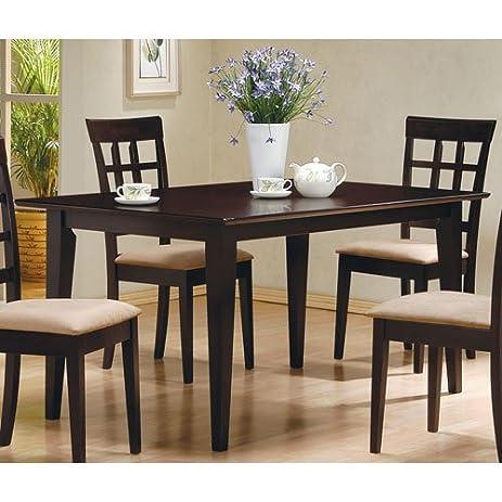 Amazon.com: Coaster Cappuccino Rectangular Dining Table: Kitchen ...