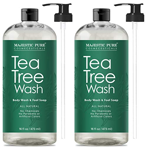 Scented Antibacterial - Antifungal Tea Tree Body Wash, Helps Nail Fungus, Athletes Foot, Ringworms, Eczema & Body Odor, Soothes Itching & Promotes Healthy Feet, Skin and Nails, Naturally Scented, Set of 2 16 fl. Oz