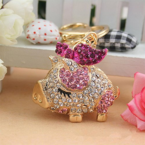 Jzone When Pigs Fly Crystal Rhinestone Pendant Key Chain is The Perfect Gift for Lover's of Fantasy Purse Charm Keyring (Pink) -