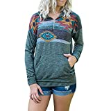 Fashion Womens Long Sleeve Pullover Sweatshirt Casual Floral Print 1/4 Zip Pockets Jumper Pullover Blouse Tops