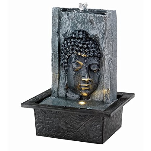 Grey Buddha Face on Wall Indoor Water Feature Direct Global Trading