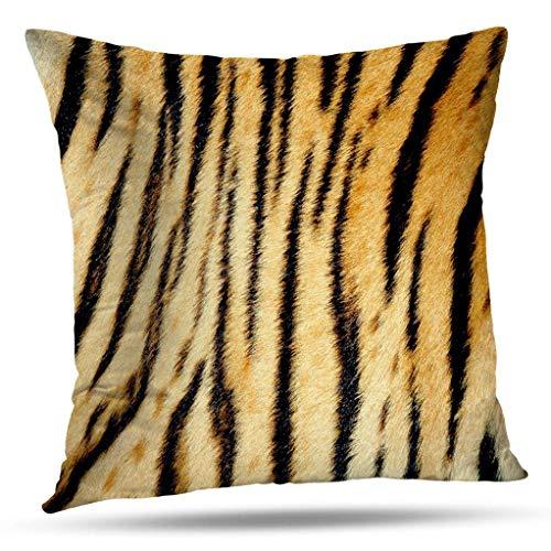(Kutita Animal Print Decorative Pillow Covers, Real Tiger Skin Fur Animal Jungle Leather Cat Brown Throw Pillow Decor Bedroom Livingroom Sofa 18X18 inch)