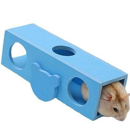 Dylandy Hamster Seesaw Juguete de Madera de túnel de mar Escalada Juego de Masticar Tubo Juguete