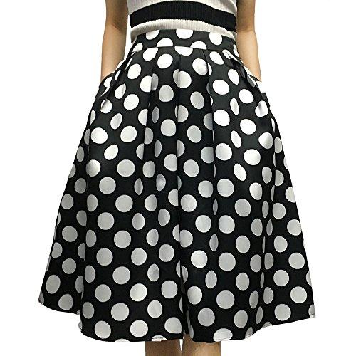 cfa3b575b Yige Women's High Waisted A line Skirt Skater Pleated Full Midi Skirt Black  Wave Point US2