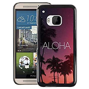 A-type Arte & diseño plástico duro Fundas Cover Cubre Hard Case Cover para HTC One M9 (Aloha Hawaii Night Sky Stars Text Pink)