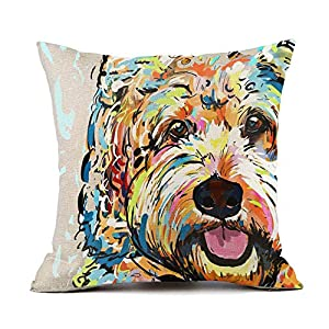 "Redland Art Cute Pet Bichon Frise Dog Pattern Throw Pillow Covers Cotton Linen Cushion Cover Cases Pillowcases Sofa Home Decor 18""x 18""Inch (45 x 45cm) 2"