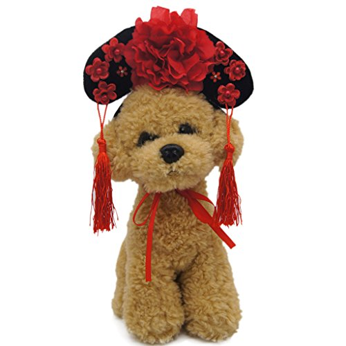Indian Costumes Diy (Pet Dog Hat Oriental Chinese Princess Headdress Cute Cat Dog Headband Red S)