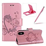 Strap Leather Case for iPhone XS/iPhone X,For iPhone XS/iPhone X [Pink Solid Color Design] Magnetic Smart Leather Folio Carrying Cover with Cash ID Cards Holders,Herzzer Elegant Premium [Love Hearts Flower Embossed] Wallet Stand Case For iPhone XS/iPhone X + 1 x Pink Cellphone Kickstand + 1 x Pink Stylus Pen