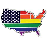 PinMart's Gay Pride USA Shape Flag LGBT Enamel Lapel Pin