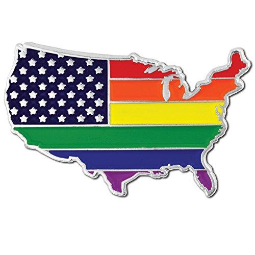 PinMart Gay Pride USA Shape Flag LGBT Enamel Lapel Pin (Pin American Pride)
