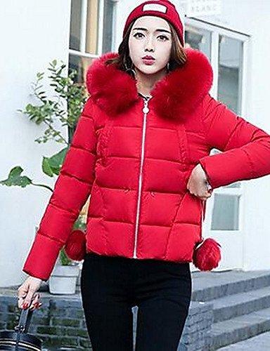 YYYURONG TT & ShangYi corto acolchado de mujer, Abrigo Simple Tallas Fuertes liso algodón polipropileno manga larga, L