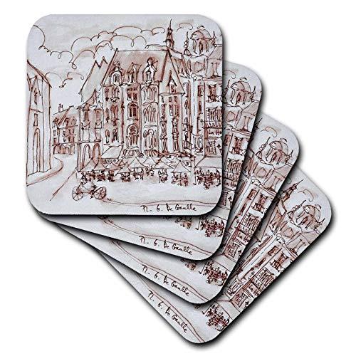 3dRose Danita Delimont - France - Place du General de Gaulle, Old town, Lille, France - set of 4 Coasters - Soft (cst_313168_1)
