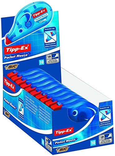 Tipp-Ex Korrekturroller Pocket Mouse, mit Bandschutzkappe, 10 m x 4.2 mm, Displaybox à 10 Stück