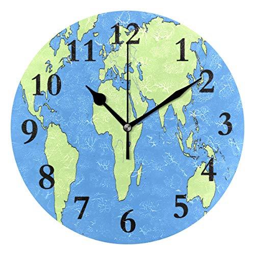 - NMCEO Round Wall Clock Blank Map Acrylic Original Clock for Home Decor Creative