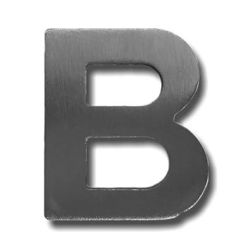 Letra B de acero inoxidable, acabado cepillado, con adhesivo 3M, 4 cm de altura