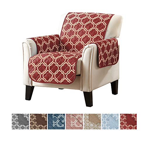 - Adalyn Collection Deluxe Reversible Quilted Furniture Protector. Beautiful Print on One Side / Solid Color on the Other for Two Fresh Looks. By Home Fashion Designs Brand. (Chair, Lattice red)