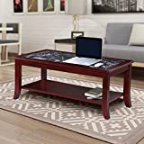 Olee Sleep 18 Dark Emperador Natural Marble (From Italy) Top Solid Wood Edge Coffee Table / End Table/ Side Table / Office Table/ Computer Table/ Vanity Table/ Dressing Table, (Black/ Cherry Brown)
