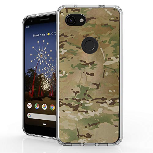 DuroCase 4 Corner Shockproof TPU Bumper & Hard Plastic Back Case for Google Pixel 3a (2019)(Clear Transparent) - Brown Camo