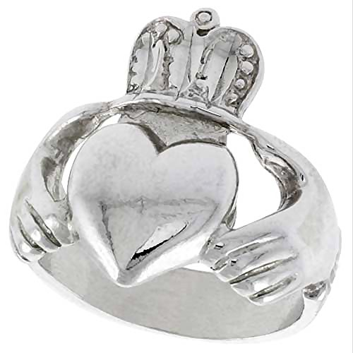 Sterling Silver Large Claddagh Ring 7/8 inch wide, size 6 (Large Claddagh Ring)