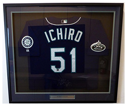 Seattle Mariners Ichiro Suzuki Signed Autograph Framed Blue Authentic 2002 Russell Jersey #51 IS Holo Stock #130328