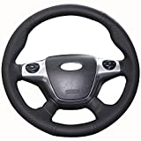 xuji steering wheel cover - XuJi Hand Sewing Black Genuine Leather car Steering Wheel Cover for 2012 2013 2014 Ford Focus 3 / 2013 2104 2015 2016 Ford KUGA Escape (Rubber steering wheel)
