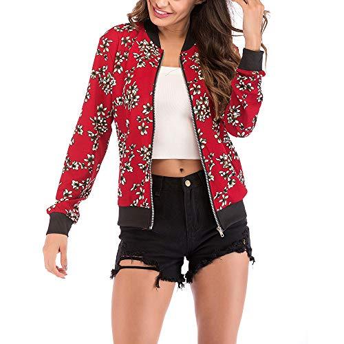 Veste Mode Manteau Femme Veste Cardigan V L'automne Femmes Blouson Floral Manteau en de col Blouse zippe Longues Rouge imprim Jacket Manteau Amlaiworld Baseball Manches 77Arxwq8