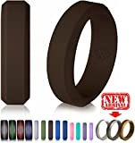 Silicone Wedding Ring Dark Brown Band for Women and Men – Size 8 Superior Rubber Rings – Premium Quality, Style, Safety, Comfort – Ideal Bands for Gym, Safe for Work, Hunting, Sports, and Travels