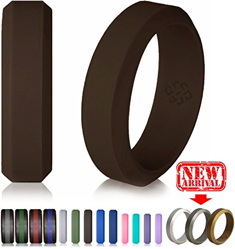 Silicone Wedding Ring Dark Brown Band for Women and Men - Size 8 Superior Rubber Rings - Premium Quality, Style, Safety, Comfort - Ideal Bands for Gym, Safe for Work, Hunting, Sports, and Travels