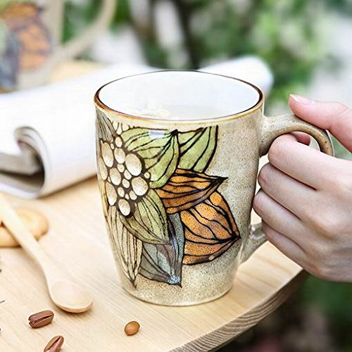 Ecley Hand painted Large capacity Ceramic Mug Creative Coffee Personality Office Features Milk Cup Spoon Scoop Yun Yun Fragrance