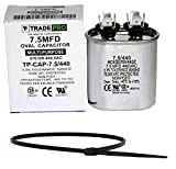 TradePro 7.5 MFD 370 VAC or 440 Volt Fan Motor Run Oval Capacitor Bundle TP-CAP-7.5/440 for Air Handlerl / Furnace Heat Pump Air Conditioner and Zip Tie