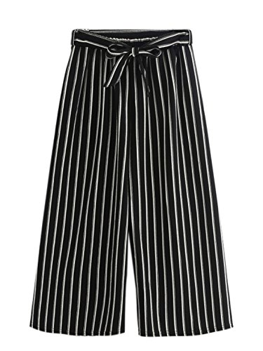 MakeMeChic Women's Striped Belted Wide Leg Cropped Palazzo Pants one-size #Black