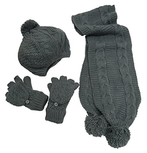 N'Ice Caps Women's Bulky Cable Knit Hat/Scarf/Converter Glove Set (Womens one size fits all, Grey) (For Women Ice Hat)